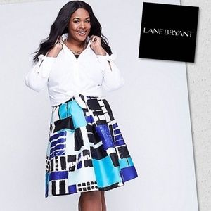 Lane Bryant Blue Geometric Skirt